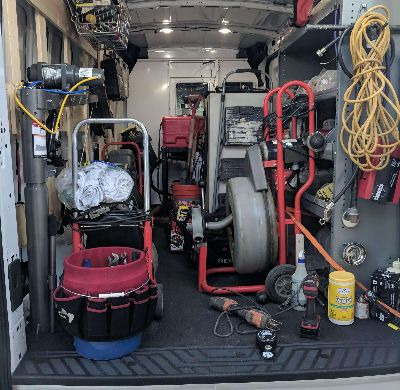 Drain Cleaning Service Working Van